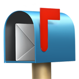 Open and raised flag mailbox with envelope
